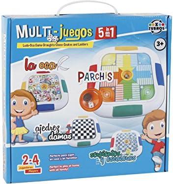 XTURNOS Juego de Mesa Multijuegos Clásicos 5 en 1: Amazon.es ...