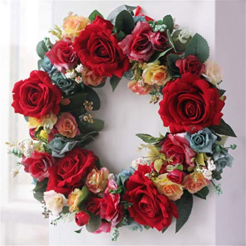 Insun Handmade Artificial Hanging Flower Garland Red Peony Arrangements Front Door Wreaths for Home Wedding Party Decoration Red Peony A