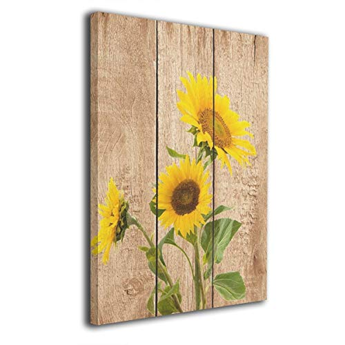 Kingsleyton Yellow Sunflowers Rustic Wood Modern Painting Oil Hand Painting Wall Art On Canvas Abstract Artwork Framed Hanging Wall Decoration(16