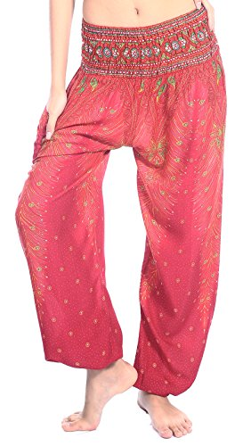 Boho Vib Women's Rayon Print Smocked Waist Boho Harem Yoga Pants (L/XL, Peacock 1 Pink) ()