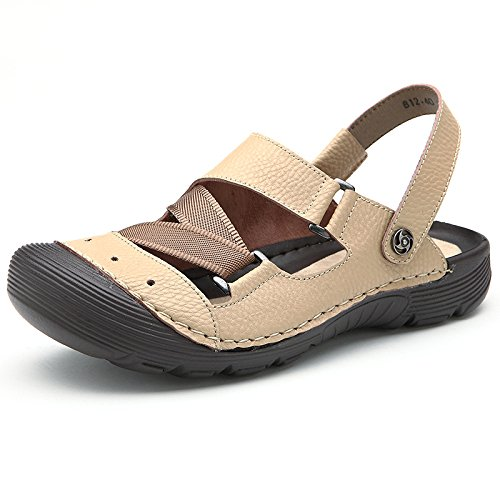 in Scarpe MHSXN Chiuse Shoes Spiaggia Retro Uomo da Climbing Pelle Men Outdoor beige Sandals da YxqzAq4wB