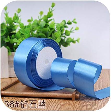 kawayi-桃 6/10/15/20/25/40 / 50mmサテンリボンDIY人工シルク工芸用品ソーイングアクセサリースクラップブッキング素材ギフトボックスベルト-Diamond blue-6mm