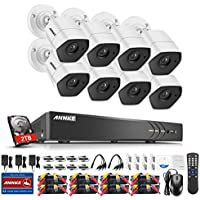Annke HD 3MP Sueveillance Camera System with 2TB HDD 8-Channel 5-in-1 HD-TVI/CVI/AHD/IP/CVBS DVR Recorder and (8) IP66 weatherproof Indoor&Outdoor Cameras, Day/Night Vision& Motion Detection