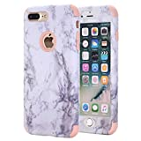 iPhone 7 Plus Case, KAMII White Marble Stone Pattern Shockproof 2in1 Dual Layer TPU Bumper Hard PC Hybrid Defender Armor Case Cover for Apple iPhone 7 Plus 5.5 inch (Rose Gold)