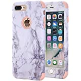 iPhone 7 Plus Case, iPhone 8 Plus Case, KAMII White Marble Stone Pattern Shockproof 2in1 Dual Layer TPU Bumper Hard PC Hybrid Defender Armor Case Cover for Apple iPhone 7 Plus /8 Plus (Rose Gold)