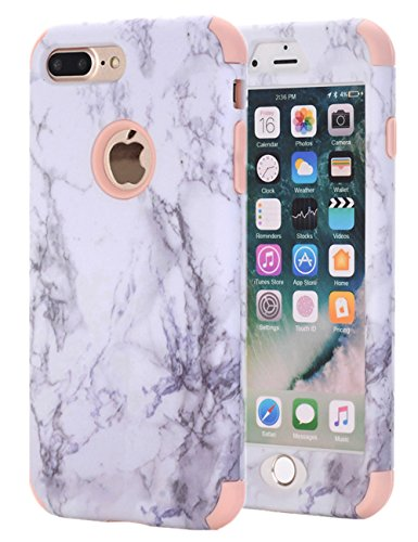 iPhone 7 Plus Case, iPhone 8 Plus Case, KAMII White Marble Stone Pattern Shockproof 2in1 Dual Layer TPU Bumper Hard PC Hybrid Defender Armor Case Cover for Apple iPhone 7 Plus /8 Plus (Rose - Zebra Pattern Red