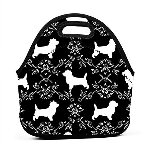 Reusable Lunch Bags Cairn Terrier Florals Dog Breed Silhouette Fabric Black_751 Waterproof Insulated Lunch Portable Carry Tote Picnic Storage Bag Lunch box Food Bag Gourmet Handbag For School Office