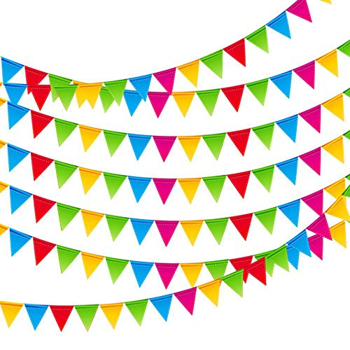 JUSLIN 500pcs Colorful Flag Pennants Multicolor Pennant Banner Nylon Cloth Banner for Party Celebrations and Shops