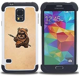 For Samsung Galaxy S5 I9600 G9009 G9008V - Bea Caveman Art Dagger Brown Painting Funny /[Hybrid 3 en 1 Impacto resistente a prueba de golpes de protecci????n] de silicona y pl????stico Def/ - Super Marle