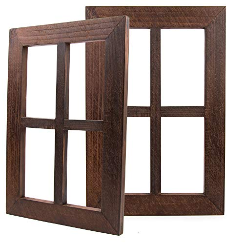 Daisy's House Distressed Window Frame Wall Decor - Set of 2 Rustic Window Panes with Hanging Hardware for Bedroom Living Room Bathroom Barnwood Home Decor (15.75