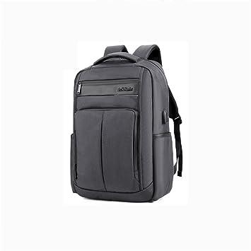 beibao shop Backpack Laptop Mochila de poliéster Impermeable Mochilas con Puerto USB de Carga ES machos, Gris, 18 Inches: Amazon.es: Deportes y aire libre