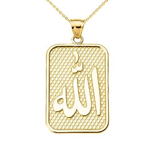 Collier Femme Pendentif 10 Ct Or Jaune Allah (Livré avec une 45cm Chaîne)