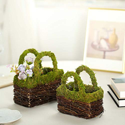 - Efavormart Set of 2 | Rustic Twig Preserved Moss Wedding Purse Planter Box - 8