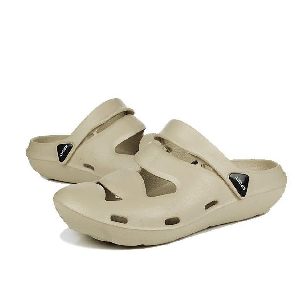 Sandalias de Dedo Cerrado de Color sólido de Las Sandalias Planas del talón Plano de Las Mulas de los Hombres hasta el tamaño 45EU 39 EU|Cream-coloured Brown