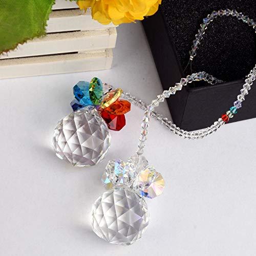 Snowman Glass Ball - Lulonpon K9 Crystal Color Chain Jewelry Set Chakra Pendants Chandelier Prisms Hanging Glass Ball Ornament Crystal Pendants, Crystal Gift for Wedding,Plants,Cars,Window Decor
