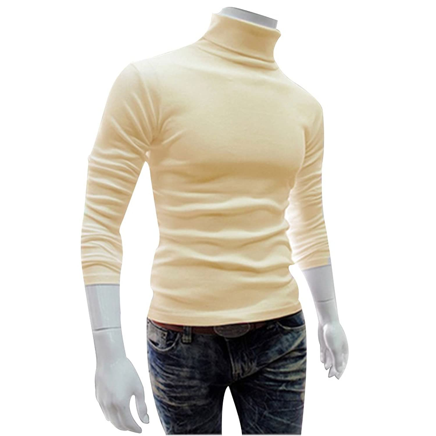 H2H Mens Casual Basic Knitted Turtleneck Slim Fit Pullover Thermal ...
