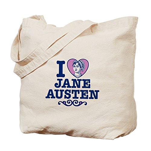 CafePress I Love–Jane Austen–Gamuza de bolsa de lona bolsa, bolsa de la compra