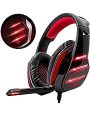Cascos PS4 con Microfono, Beexcellent GM-3 Rojo con Orejeras de Gran Tamaño, Cancelacion Ruido y Diadema Ajustable, Premium Stereo para PC Xbox One Nintendo Switch y Laptop (Tiene un Adaptador)