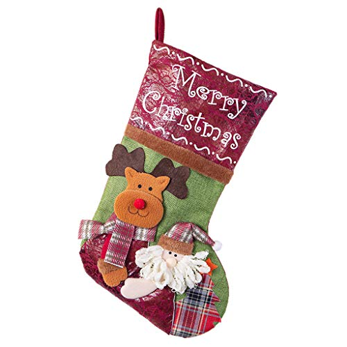 Nesee Joyful Pet Christmas Stockings Personalized Hanging Stockings with 3D Santa Snowman Reindeer Mantle Xmas Stocking for Christmas Decorations and Party Favors