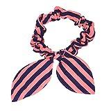 1PC Rabbit Ears Stripes Hair Ring Orange&Blue (B)