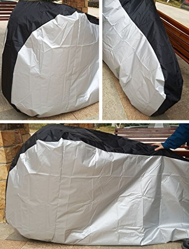 Newest Bicycle Cover, Rain Proof Dustproof Heavy Duty Seat Protective Extra Large Outdoor Bick Cover [200x70x110cm] [Black+Silver] XL (Heated Bicycle Seat)