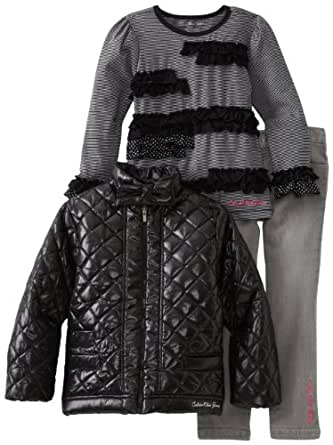 Calvin Klein Little Girls' Jacket With Tee And Jean, Assorted, 5