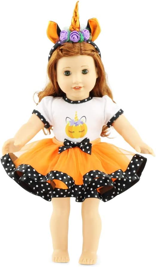 "Emily Rose 18 Inch Doll Clothes | 18"" Doll 3 Piece Halloween Unicorn Doll Outfit, Includes Unicorn Doll Headband 