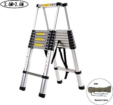 DIY escalera telescópica de aleación de aluminio telescópica Escaleras 2.6M + 2,6 M plegables portátiles de extensión portátil escaleras rectas Paso extensible 150kg Capacidad de carga loft ladder RVT: Amazon.es: Bricolaje y