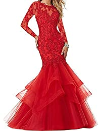 Womens Whole Beads Mermaid Long Prom Dresses Tulle Prom Gowns