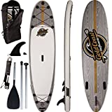 Gold Coast Surfboards Inflatable SUP Paddleboard | 10'6 Aqua Discover | Large, Stable & Strong Inflatable Paddle Board | Complete Stand Up Paddle Board Inflatable Package (Grey Wood Grain)