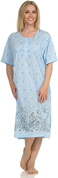 38 40 42 44 Damen Nachthemd Schlafshirt Nachtwäsche mit Muster Gr