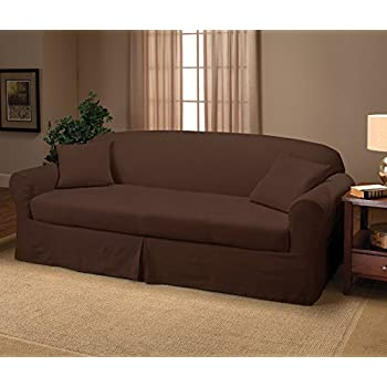 Amazoncom Soft Suede Sofa Slipcover Chocolate Home Kitchen