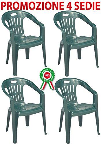 Sedie In Plastica Per Bar.Progarden Diva 4 Pz Poltrona Sedia Piona In Dura Resina Di Plastica Verde Impilabile Con Braccioli Per Casa Giardino Bar Sagra Campeggio