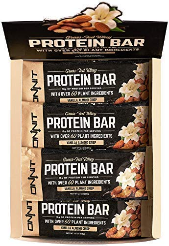 New! Onnit Protein Bars (Vanilla Almond Crisp – Box of 12) | Made with Grass Fed Whey & over 60 Plant Ingredients | 16g Protein Per Bar
