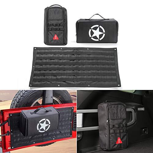 RT-TCZ 3PCS Car Tailgate Multi-Pockets Storage Bag & Tool Kit Organizer Bag Saddlebag for Jeep Wrangler JK JL 2007-2018 Unlimited ()