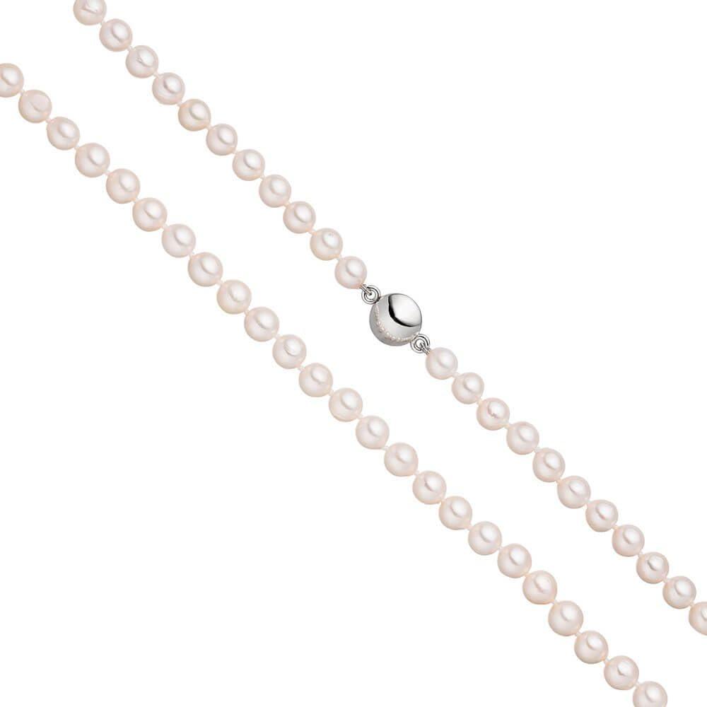 Perla Cadena con 6,5mm Akoya blancas perlas Imán de Cierre de plata 92545cm