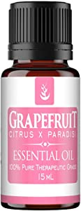 Pure Grapefruit Essential Oil 15 ml, Convenient Dropper Cap Bottle, Promotes Clear Healthy Skin, Supports Healthy Metabolism, Energizing & Uplifting Aroma