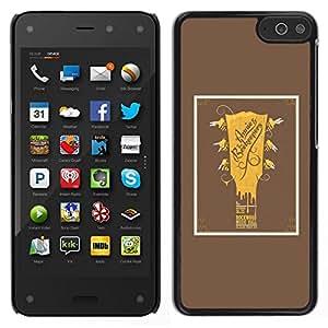 // PHONE CASE GIFT // Duro Estuche protector PC Cáscara Plástico Carcasa Funda Hard Protective Case for Amazon Fire Phone / Guitar Golden Brown Poster Music Rock /