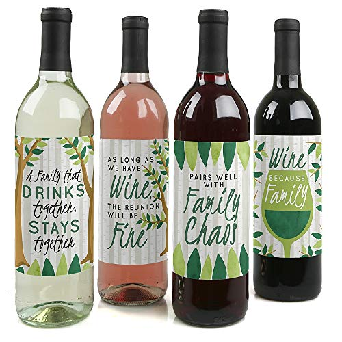 Family Tree Reunion - Family Gathering Party Decorations for Women and Men - Wine Bottle Label Stickers - Set of 4