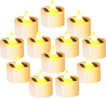 FunPa 12 piezas velas solares, halloween led candelita carga solar batería con luz led vela luz para jardín festival patio bar boda fiesta: Amazon.es: Iluminación