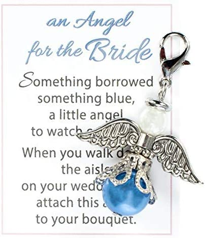 Angel Wing Bouquet Charm with Pearl Accent Something Blue