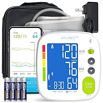 GreaterGoods Bluetooth Full Set Blood Pressure Monitor Cuff and Kit, Carrying Case, Batteries, Plug, Cuff, Monitor, Free iPhone Android app Included (Full Kit)