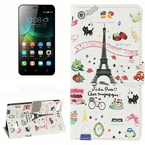 Mobile Phone Cases&decorate Púrpura flores patrón horizontal flip caja de cuero con ranuras para tarjetas y cartera y titular de Huawei honor 4c ( SKU : S-MLC-9311L ) S-MLC-9311C