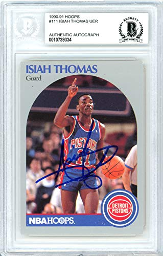 Isiah Thomas Autographed 1990-91 Hoops Card Autographed #111 Detroit Pistons - Beckett Authentic