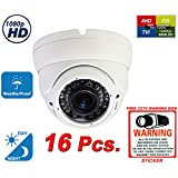Evertech 1080P 2.1MP HD Day Night Vision Outdoor Indoor Dome CCTV Security Camera Compatible AHD TVI CVI and Traditional Analog DVRs w Free CCTV Sticker Warning Sign (16 pcs. 1080P (All White))