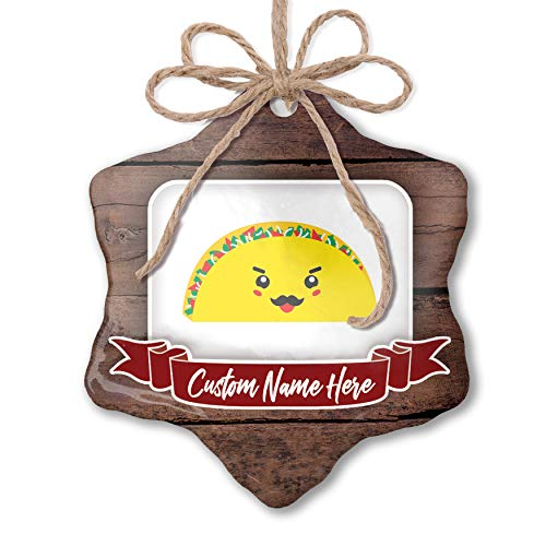 NEONBLOND Custom Family Ornament Taco Cute, Kawaii Food with Face Japanese Personalized Name