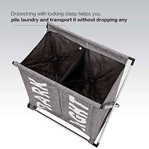 HOMEST Large 2 Section Laundry Hamper Sorter Basket with X-Frame 25.5''×23''H Washing Storage Dirty Clothes Bag for Bathroom Bedroom Home College Use, Grey by HOMEST (Image #6)
