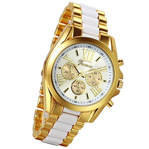 Lancardo Luxury Men Stainless Steel Gold Dial Quartz Analog Bangle Wrist Watch with 3 Sub-Dials - White