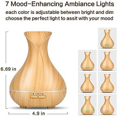 OliveTech Aroma Essential Oil Diffuser 150ml Wood Grain Aromatherapy Diffuser Ultrasonic Cool Mist