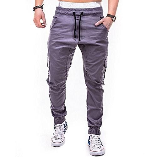 COPPEN Men Pant Sport Pure Color Bandage Casual Loose Sweatpants Drawstring Gray